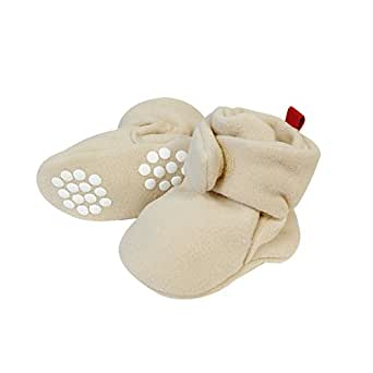 Wrapables Fleece Baby Booties with Anti-Skid Bottoms, Beige, 0-6 M
