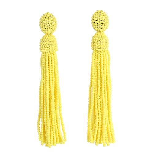 Glass Bead Clip Earrings - Bonnie Women's Tassel Long Earring Bead Solid Color Handmade Stud Tassel Earrings (Yellow)