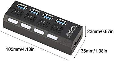 Heaviesk Hub de 4 puertos USB 3.0 de alta velocidad alimentado con adaptador e interruptores independientes Luz indicadora LED para Game Pc Smart TV: Amazon.es: Bricolaje y herramientas