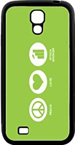 Rikki KnightTM Peace Love Stock Broker Lime Green Color Design Samsung\xae Galaxy S4 Case Cover (Black Hard Rubber TPU with Bumper Protection) for Samsung Galaxy S4