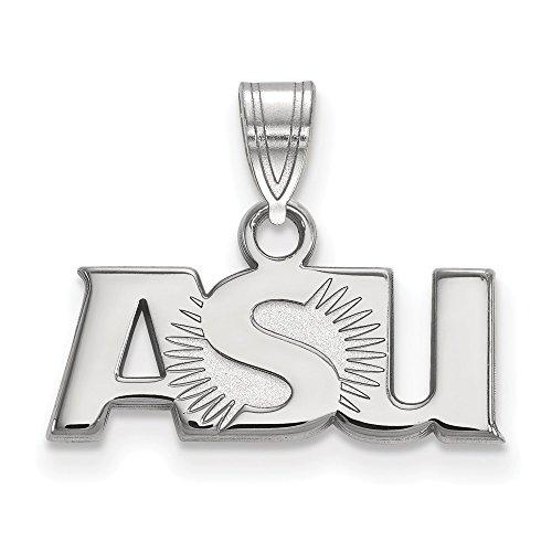 10k White Gold Arizona State University Sun Devils School ASU Letters Pendant S - (8 mm x 18 mm) ()