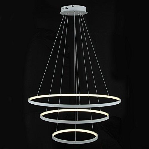 LightInTheBox–90W Colgante Diseño moderno LED tres anillos de luz Lámparas de araña color blanco, voltaje de...