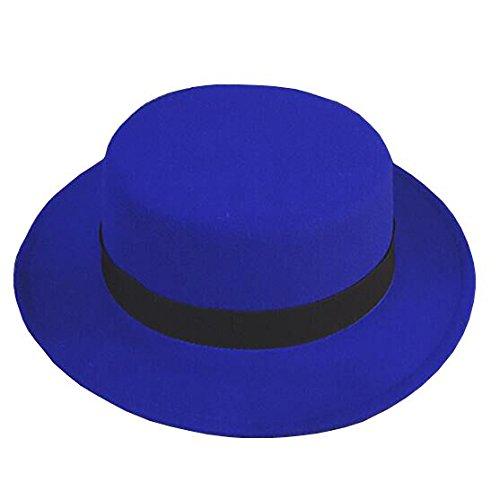 NE Norboe Women's Brim Fedora Wool Flat Top Hat Church Derby Bowknot Cap