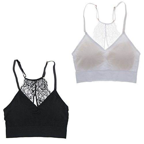 c59c89ff47 Marilyn Monroe Intimates Women s Sexy Bralette With Lacey Racer Back (2 Bras)  (Large