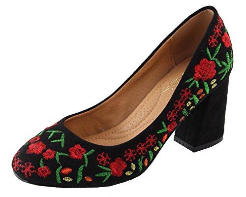 Heels Embroidered - Elegant Footwear Women's Floral Embroidered Stacked Block Heel Round Toe Pump (9 B(M) US, Black)