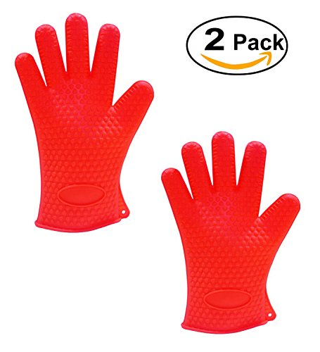 Microwave Oven Mitts (Igoolee 2 Pcs Silicone Gloves,Heat Resistant Oven Gloves, Microwave Mitts & BBQ Grill Gloves, Waterproof Non-slip Food Grade for Home, Kitchen, Cooking and Baking (Red))