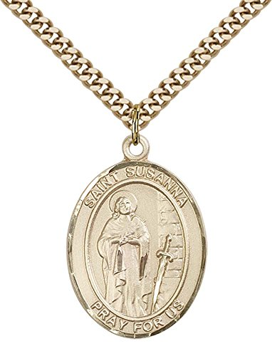 14kt Gold Filled St. Susanna Pendant with 24'' Gold Plated, Stainless Steel Heavy Curb Chain. Patron Saint of Those Named Susanna by F A Dumont