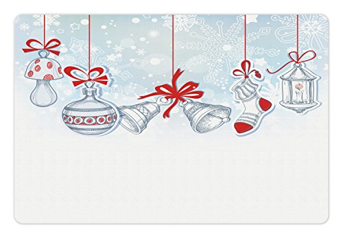 Christmas Pet Mats for Food and Water by Ambesonne, Retro Style Famous Socks for Toy and Candy Bells and Snowflake Graphic Design, Rectangle Non-Slip Rubber Mat for Dogs and Cats, White Red