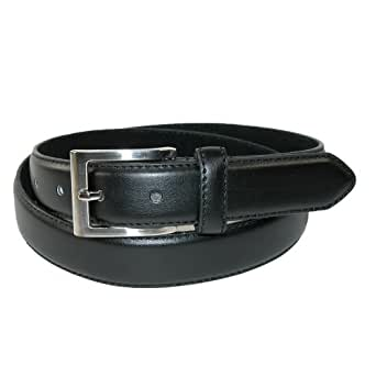 CTM® Mens Leather 1 1/4 Inch Basic Dress Belt with Silver Buckle, 34, Black