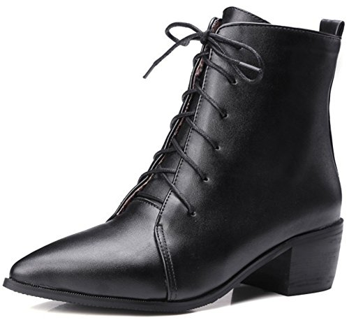 Womens Pointed Toe Boots - Summerwhisper Women's Sexy Pointed Toe Blocked Mid Heel Lace-up Patent Leather Short Boots Black 6 B(M) US