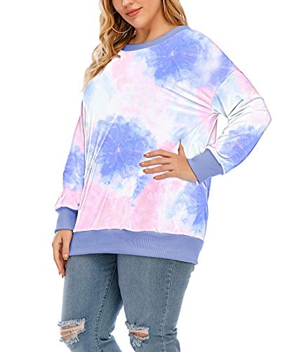 YASAKO Womens Plus Size Casual Tie Dye Camo Print Long Sleeve Shirts Crew Neck Loose Fit Sweatshirt Pullover Tops (Tie Dye-A, X-Large)
