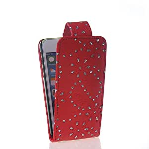 CASEPRADISE Bling Diamante Carcasa Cuero Funda Caso Tapa Flip Cover Case Para Apple iPhone 5C Rojo