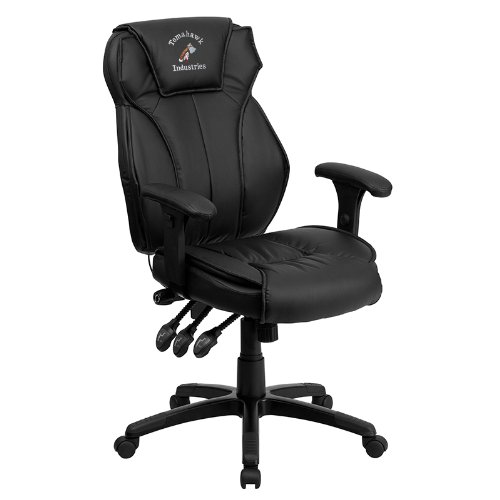 "UPC 847254053464, Embroidered High Back Leather Executive Swivel Office Chair With Triple Paddle Control And Lumbar Support Knob Black/Black/28""L x 28""W x 48.75""H"