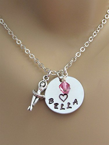 Ballerina Personalized Heart Hand Stamped Necklace with Swarovski Birthstone Bead & Silver Ballerina Charm