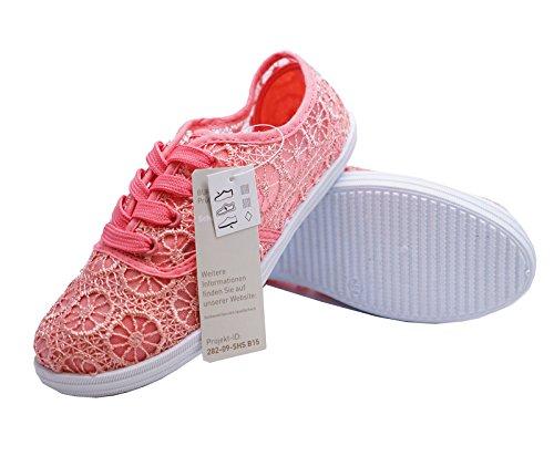 HeelzSoHigh Girlss Kinder Pink Zum Schnüren Plimsoll Halbschuhe Freizeit Sportschuhe Größen 1-5