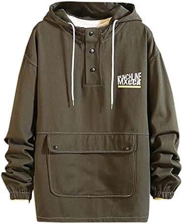 iNoDoZ Men's Loose Hoodies New Casual Patchwork Large Pocket Long Sleeves Fashion Pullover Sweatshirt Tops