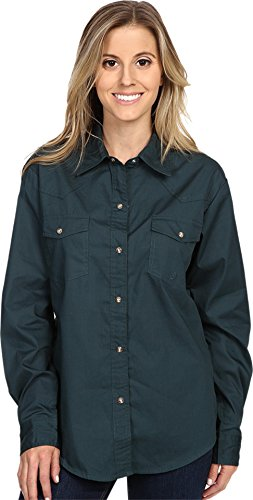 Roper Green - Roper Women's L/S Solid Basic Snap Front, Green, XS