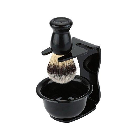 Anself 3 In 1 Shaving Brush Set Cleaning Tool Shaving Frame Base + Soap Bowl + Bristle Hair Shaving Brush