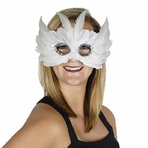 Zucker Feather Products BSNOWOWL--W Snow Owl Mask Feather Mask (Snow Owl Costume)