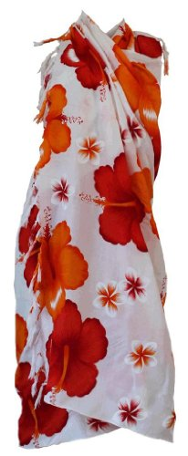 Siam Secrets White Floral Sarong Beach Wrap Pareo 5 Options Large Red Flower ()