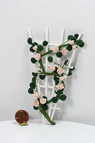 Heirloom Trellis (Dollhouse Miniature 1:12 Scale Pale Pink Heirloom Rose Vine on a White Trellis)