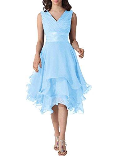 Azbro Mujer Simple V cuello sin mangas asimétrico vestido Azul claro