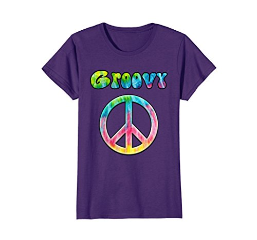 Groovy Love Peace Sign (Womens Groovy Vintage Psychedelic Tie Dye Hippie Peace Sign T-Shirt XL Purple)
