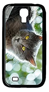 Angry Cat DIY Hard Shell Black Designed For Samsung Galaxy S4 I9500 Case