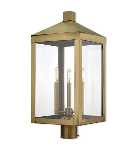 Outdoor Post 3 Light with Antique Brass Finish Solid Brass Candelabra 24 inch 180 Watts - World of Crystal