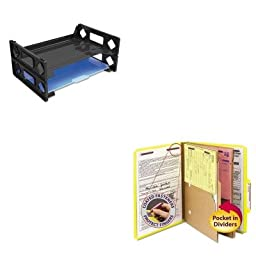 KITSMD14084UNV08100 - Value Kit - Smead Pressboard Folders with Two Pocket Dividers (SMD14084) and Universal Side Load Letter Desk Tray (UNV08100)