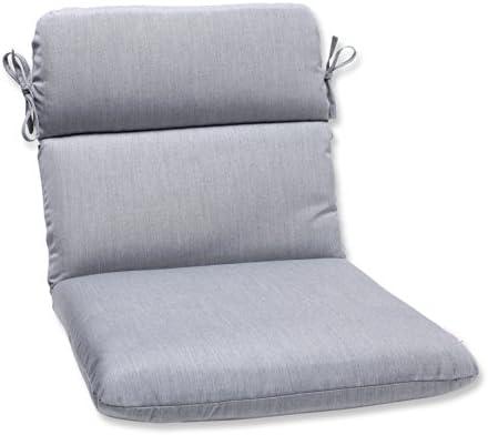 Pillow Perfect Outdoor/Indoor Sunbrella Canvas Granite Round Corner Chair Cushion