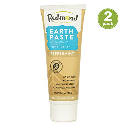 (Redmond Earthpaste - Natural Non-Fluoride Toothpaste- Peppermint (2 pack- 2 x 4 Ounce Tube))