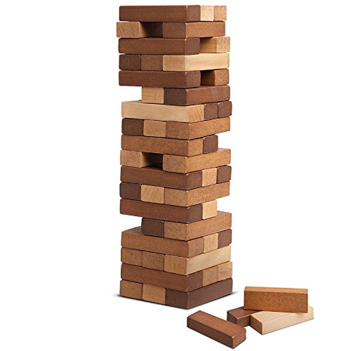 REFINERY AND CO. Wood Block Stacking Game, Includes 54 Pieces, Adds An Elegant, Classic Touch To The Playroom, Builds Hand Eye Coordination In Children, Great For Parties Or Family Gatherings by Refinery and Co.