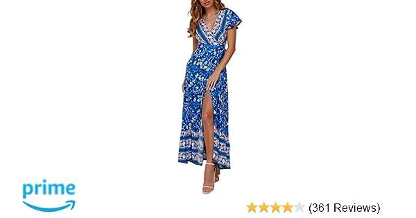 02cecc7e9665 ZESICA Women's Bohemian Floral Printed Wrap V Neck Short Sleeve Split Beach  Party Maxi Dress at Amazon Women's Clothing store: