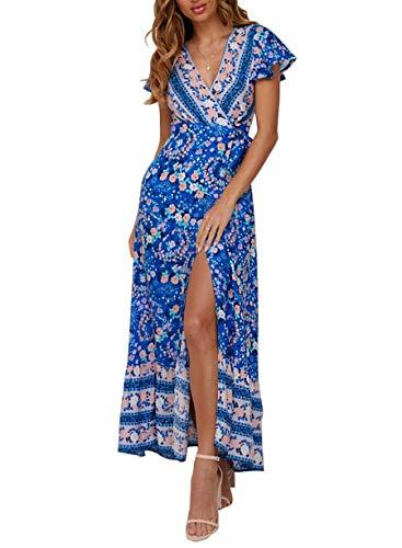 ZESICA Women's Bohemian Floral Printed Wrap V Neck Short Sleeve Split Beach Party Maxi Dress - Floral Dress Blue
