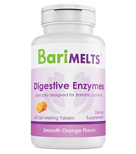 BariMelts Digestive Enzymes, Dissolvable Bariatric Vitamins, Natural Orange Flavor, 60 Fast Melting Tablets
