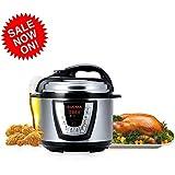 Aucma Electric Pressure Cooker, 6 Qt Multi-Use Pressure Cooker, Rice Cooker, Slow Cooker, Hot Pot + More 1000W