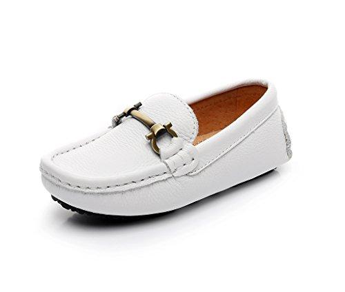 Shenn Boy's Girl's Slip On Buckle Dress Leather Loafers Shoes 8771K(White,2 US Little Kid)