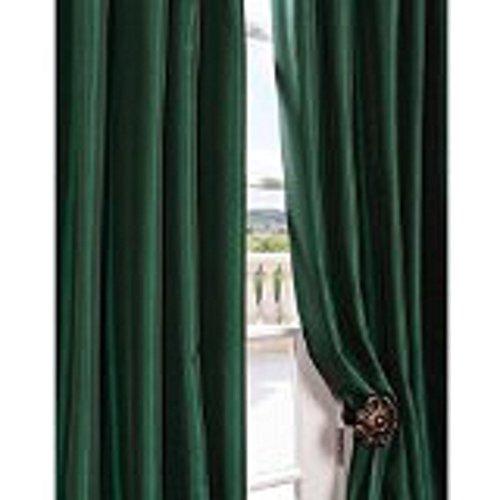 Blackpeel Two 84″ Long Hunter Green Grommet Faux Silk Panels Window Curtain