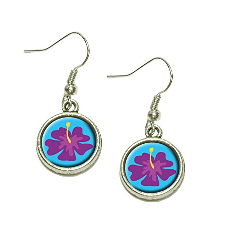 (Tropical Flower Hibiscus Purple Dangling Drop Charm Earrings)