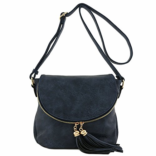 Tassel Accent Crossbody Bag with Flap Top (Navy) ()