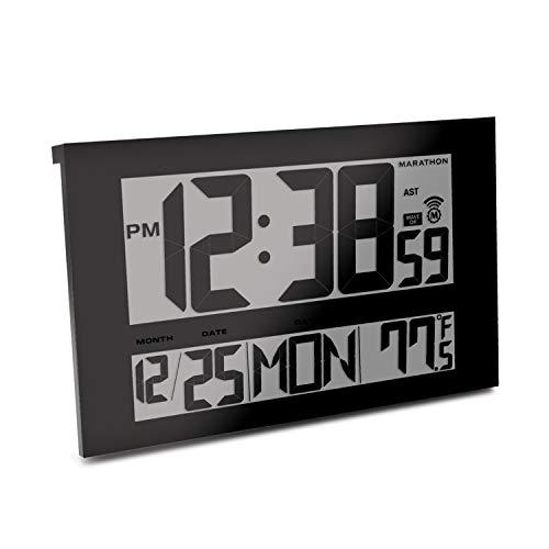 Marathon CL030025BK Commercial Grade Jumbo Atomic Wall Clock with 6 Time Zones, Indoor Temperature & Date (Black)