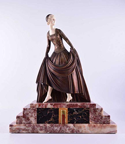 Dimitri Chiparus ''Cinderella Sculpture Art Deco, Bronze and Marble/ 100% Authentic