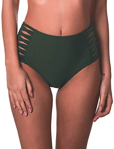 RELLECIGA Women's Green High Waisted Strappy Sides Bikini Bottom Size X-Large