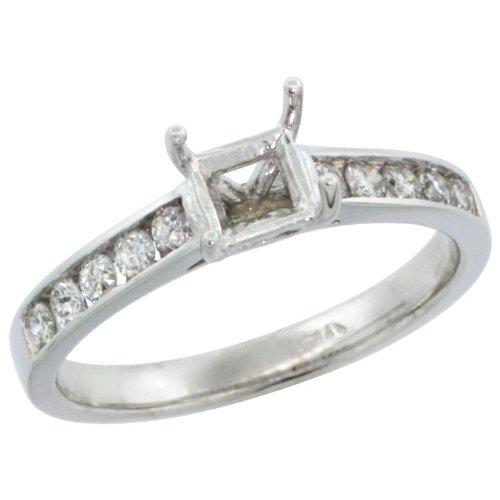 14k White Gold Semi Mount (for 5mm 0.75 Carat Size Princess Cut) Diamond Ring w/ 0.30 Carat Brilliant Cut ( H-I Color; SI1 Clarity ) Diamonds, 1/4 in. (6mm) wide, size 5.5