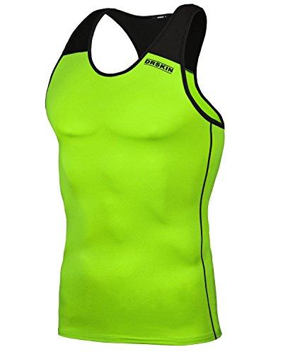 DRSKIN Undershirts Running Shirt Tank Tops Men's Cool Dry Compression Baselayer Sleeveless (Manggo LG-B06 L)