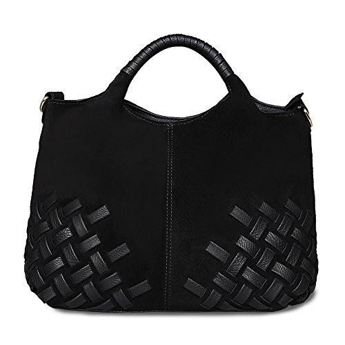 Nico Louise Women Weave Suede Genuine Leather Handbag Female Leisure Casual Lady Crossbody Shoulder Bag Messenger Top-handle Bags (Black Big) (Suede Genuine Leather Ladies)