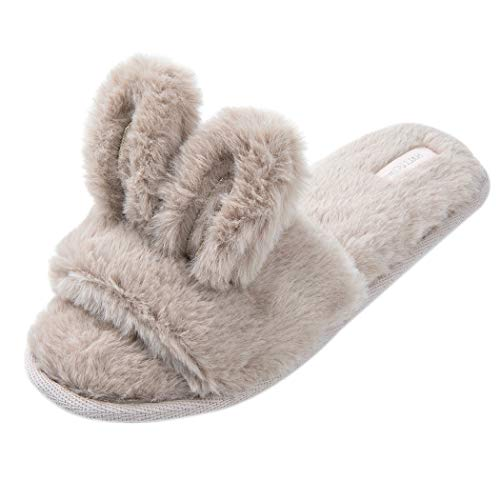 HALLUCI Women's Cozy Fleece Memory Foam House Trick Treat Halloween Slippers (5-6 M US, Big Bunny -