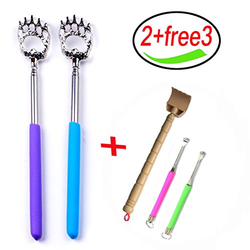 (2-Pack) Bear Claws Metal Back Scratchers Portable Extendable Telescopic/Free 1 Back Scratchers and 2 Metal Earpick(Free).