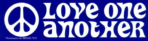 Peace Resource Project Love One Another - in Blue Small Magnetic Bumper Sticker/Decal Magnet (5.5